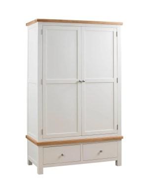 Dorset oak double wardrobe with drawers