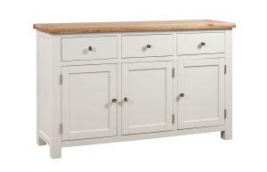 Dorset painted 3 door sideboard with three drawers and 3 doors. oak top