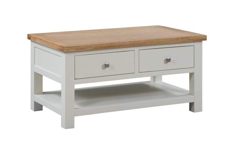 Dorset Painted 2 drawer coffee table with oak top