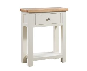 Dorset oak small 1 drawer console table painted ivory