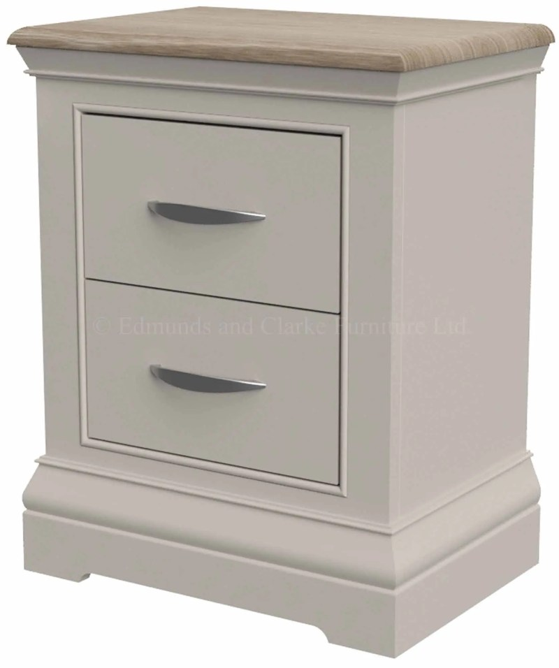 Light grey painted 2 drawer bedside with pale oak top