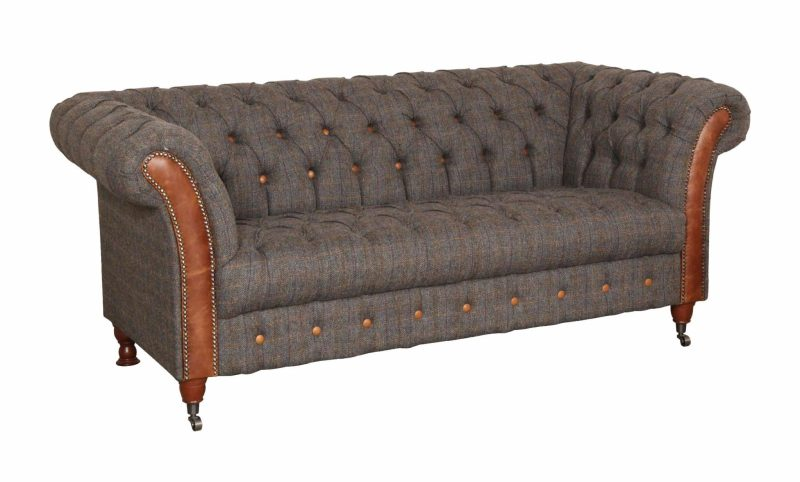 Vintage Sofa Company Chester Club Fast Track 2 Seater Sofa moreland tweed and cerato brown chesterfield sofa angled