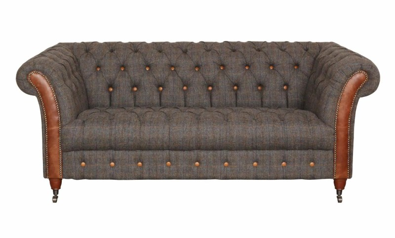 Vintage Sofa Company Chester Club Fast Track 2 Seater Sofa moreland tweed and cerato brown chesterfield sofa