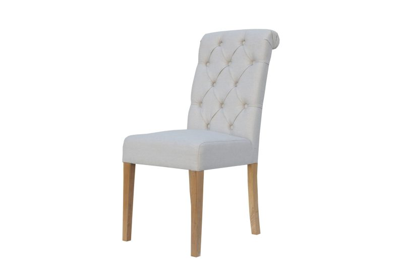 CH28Nat Cavendish button back scroll top chair -Natural with oak legs