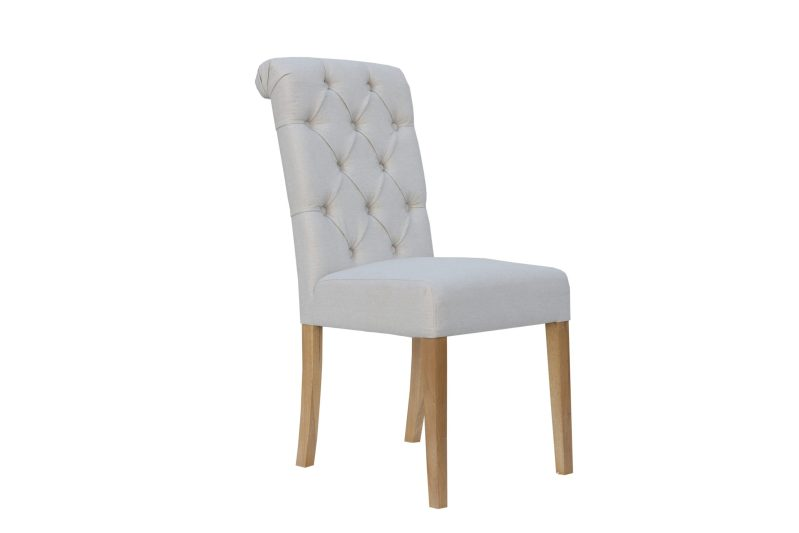 CH28Nat Cavendish button back scroll top chair -Natural 3