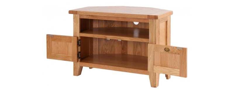 NB037 oak corner tv unit 5