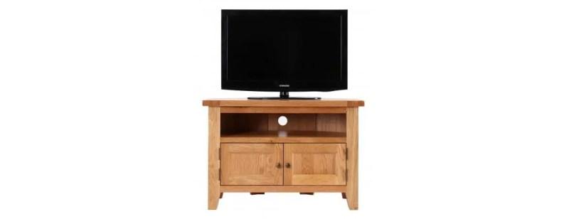 NB037 oak corner tv unit