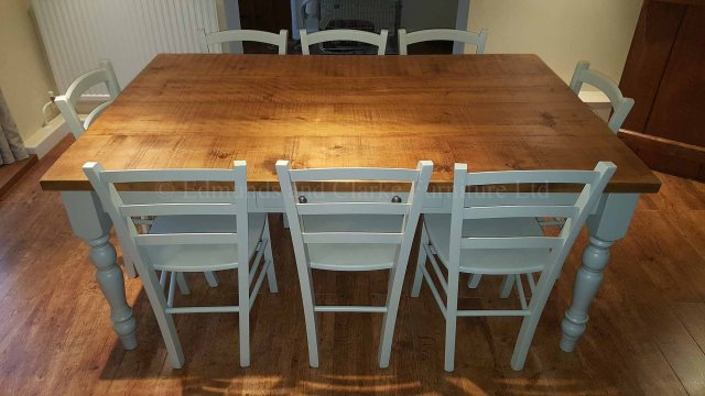 edmunds painted farmhouse table with rough sawn top 4