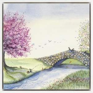 AK10076 gone Fishing By Catherine J Stephenson, bunnies fishing by the stream and playing pooh sticks off of the bridge