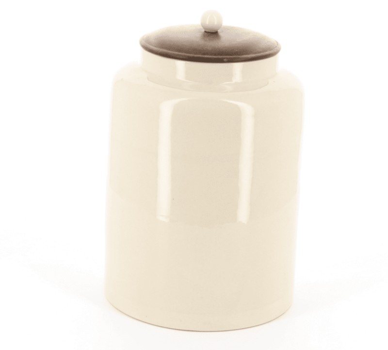 Country kitchen large ceramic round store with wooden lid and ceramic knob handle