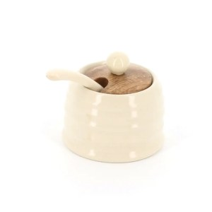 country kitchen small honey pot with wooden lid