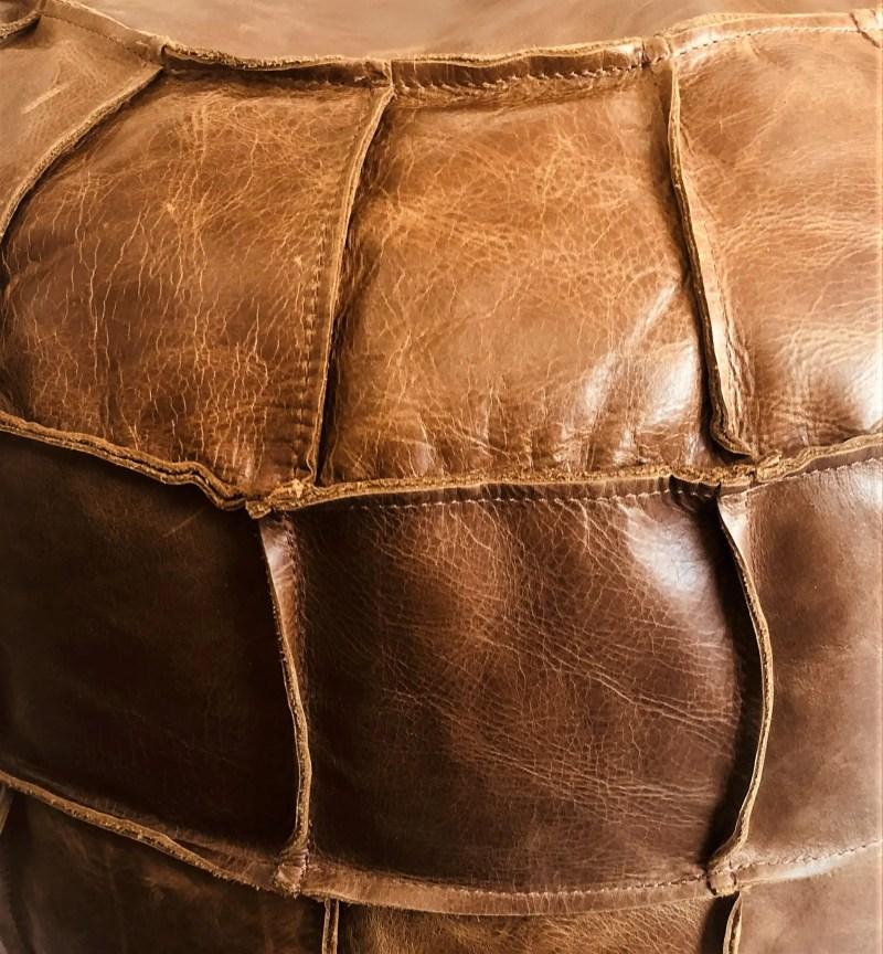 Vintage sofa company Drum Bean Bag Cerato leather close up