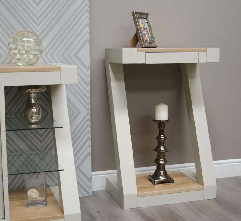 Z Painted design Console table with Natural top