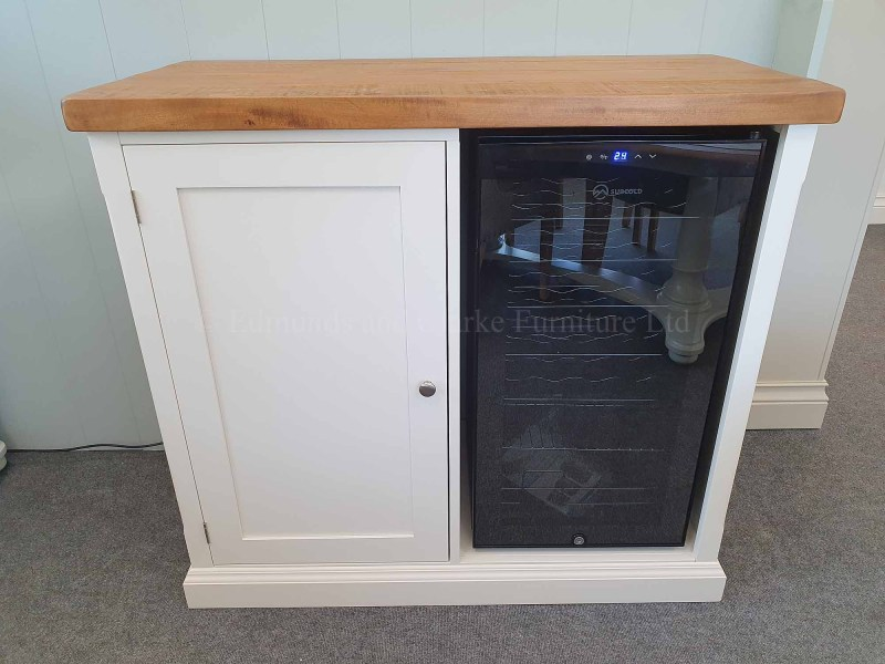 Sideboard with wine cooler, painted with thick pine or oak top