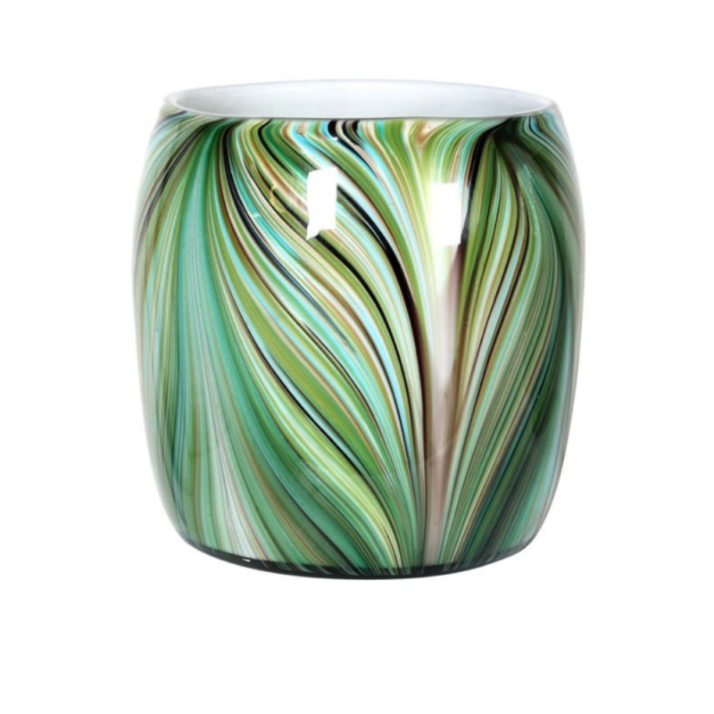 Waves of green round vase 1