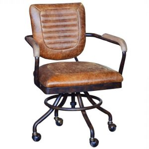 Carlton furniture leather office chair brown with metal wheels