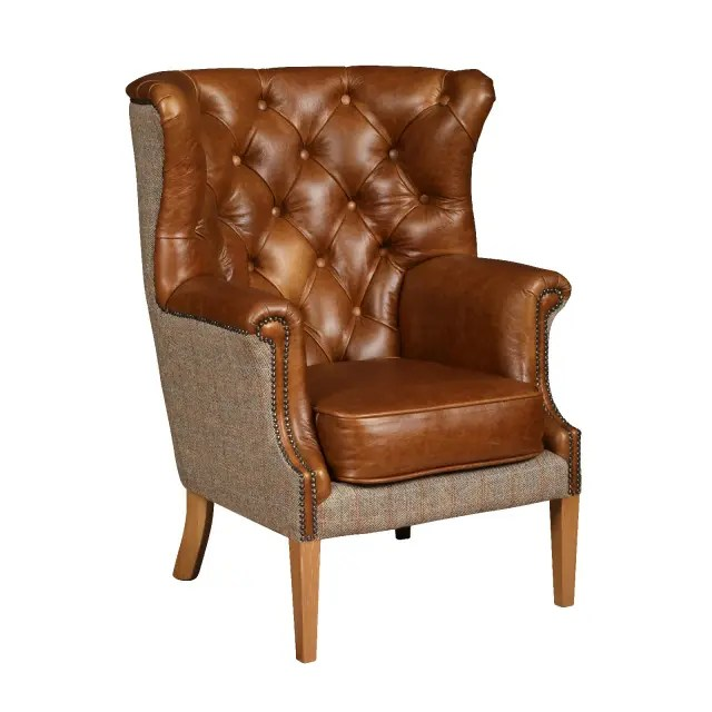Winchester chair leather harris tweed V1