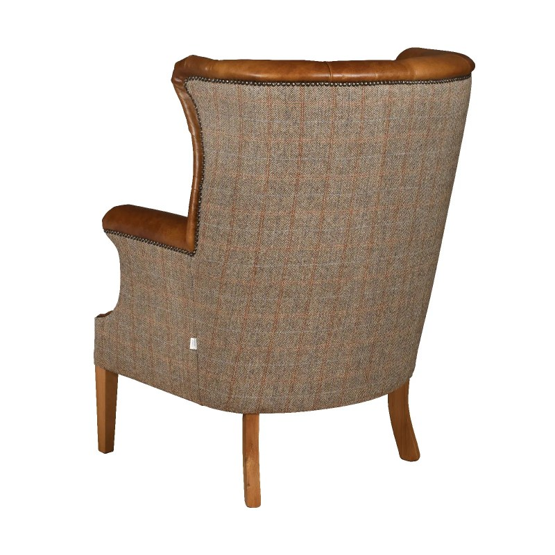 Winchester chair leather harris tweed V3