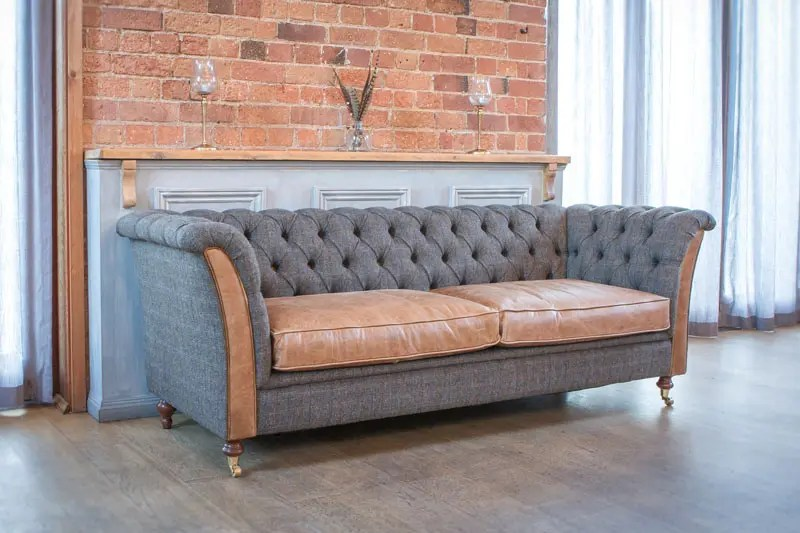 granby 2 seater sofa harris tweed and cerato leather seat cushions V3