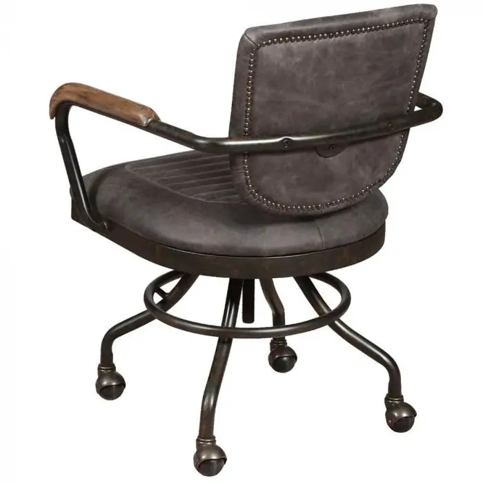 hudson grey leather office chair industrial style