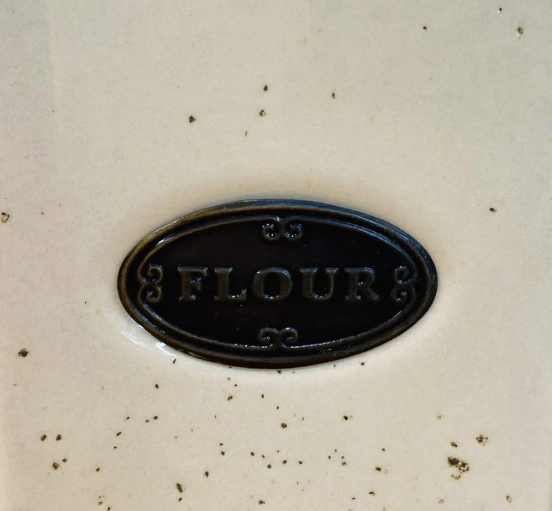 Tall flour pot close up