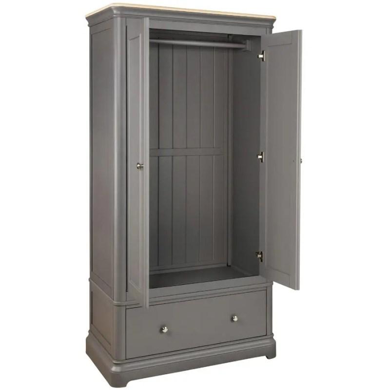 BLA032_gents_1_drawer_double_wardrobe_bedroom_painted_grey_open