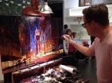 Michael Flohr paints at The Forum Shops in Las Vegas