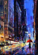 "Original oil painting, ""Golden Evening"", by Michael Flohr"