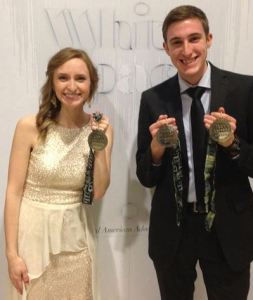 Seniors Katie Simpson and Jeff Carden show off their silver medals at the ADDY awards. Photo provided by Jeff Carden