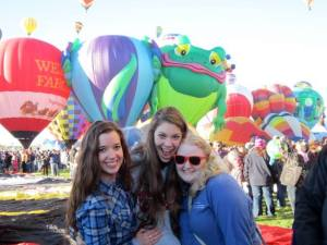 Jordan Hepler, Heather Cox and Ronna Fisher at Albuquerque, New Mexico's annual hot air balloon festival Photo by Jordan Hepler