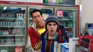 Shazam and his younger self in a gas station