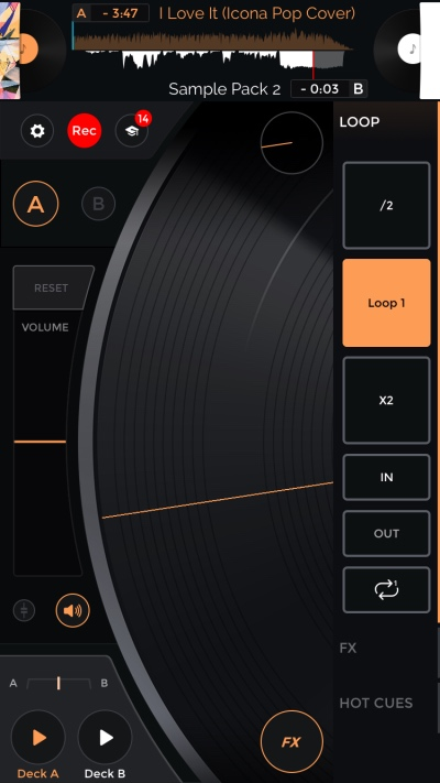 Mixfader dj: digital vinyl for scratching