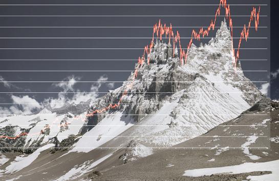 Michael Najjar's High Altitude photo superposed with Dow Jones chart