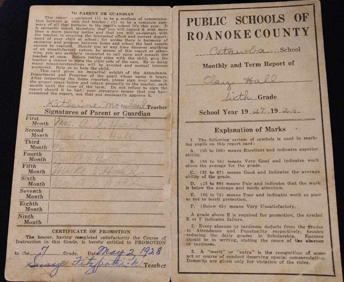 Front of Clay Hall's report card1927-1928 School Year