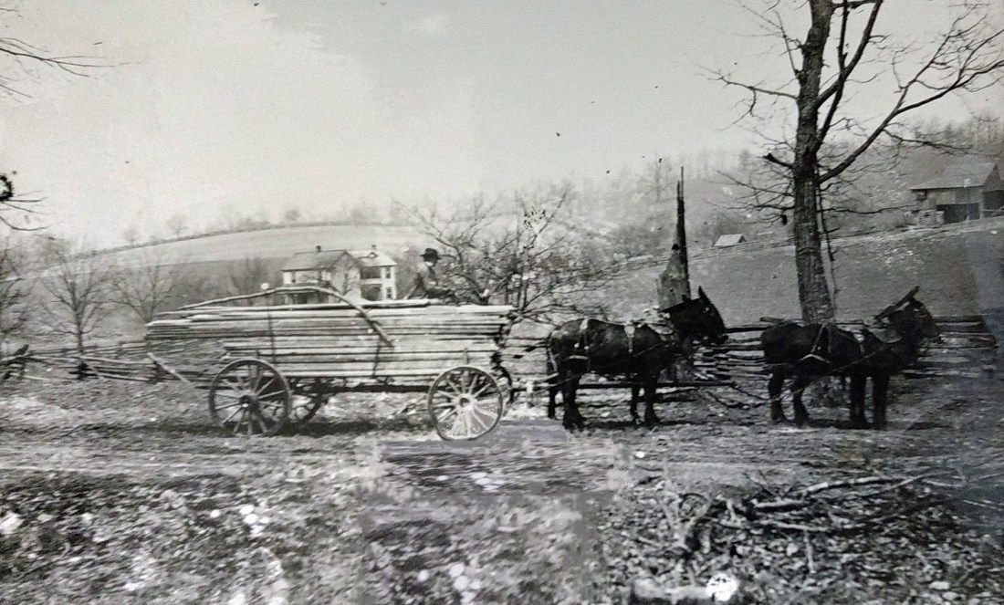 Lumber was delivered to a work site by horse and wagon