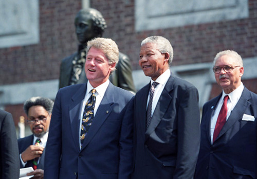 Nelson Mandela during a meeting with Bill Clinton in 1993.