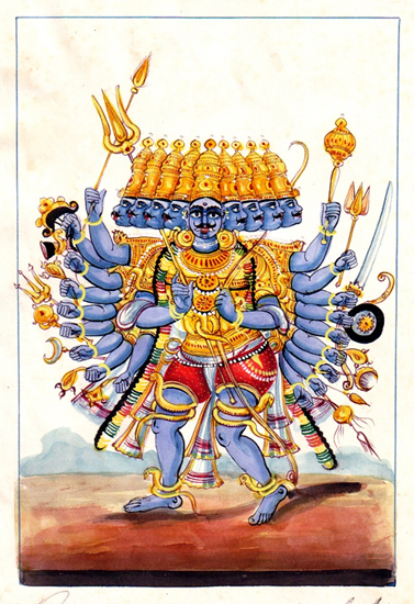 Ravana, the ten-headed demon king of Lanka.