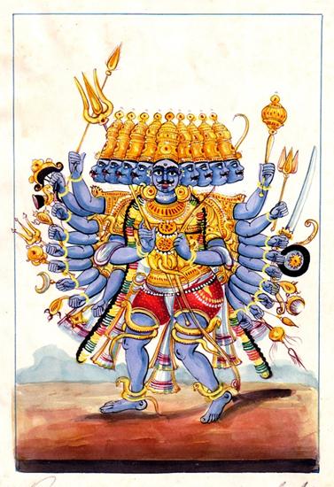 Ravana, the ten-headed demon king of Lanka.