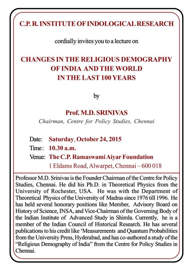 md-srinivas lecture invitation