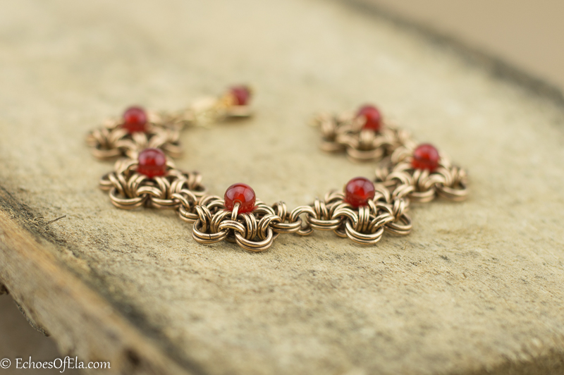 Japanese Style Flower Chain Maille Bracelet with Carnelian Beads in Jewelers Brass