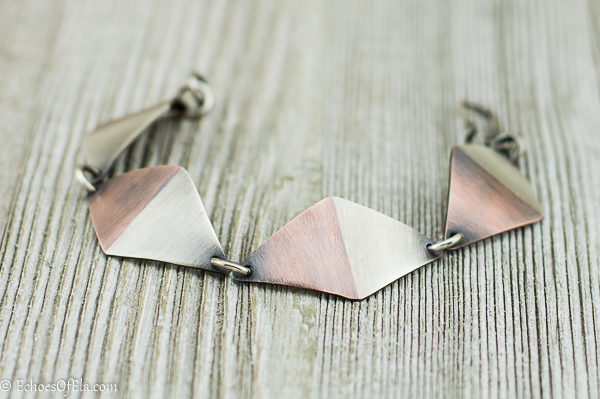 patina copper and sterling silver rhombus bracelet created in a married metal technique