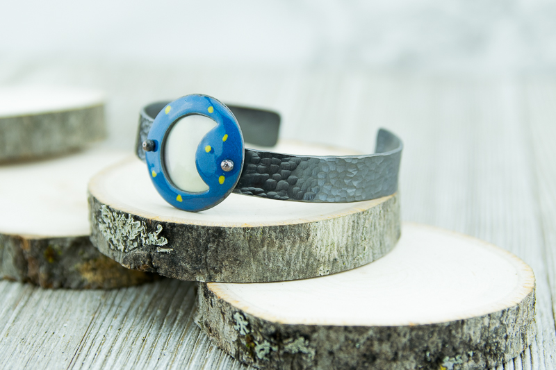 Enameled moon and stars on hammered patina copper cuff