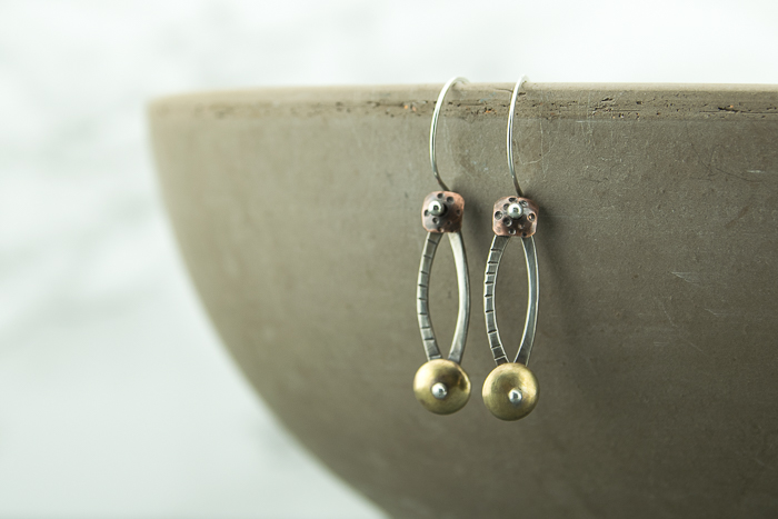 Sterling silver, patina copper and brass metal work earrings