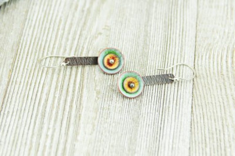 multi colored stacked enamel disc earrings