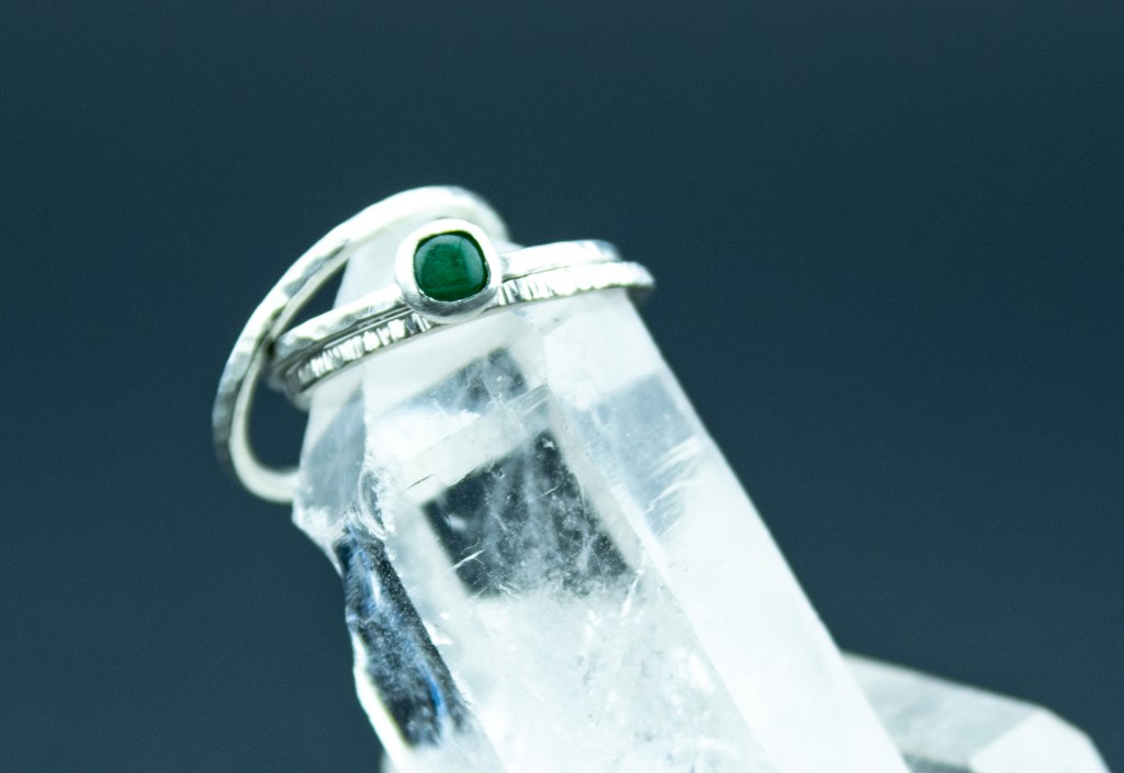 aventurine and sterling silver textured stacking rings