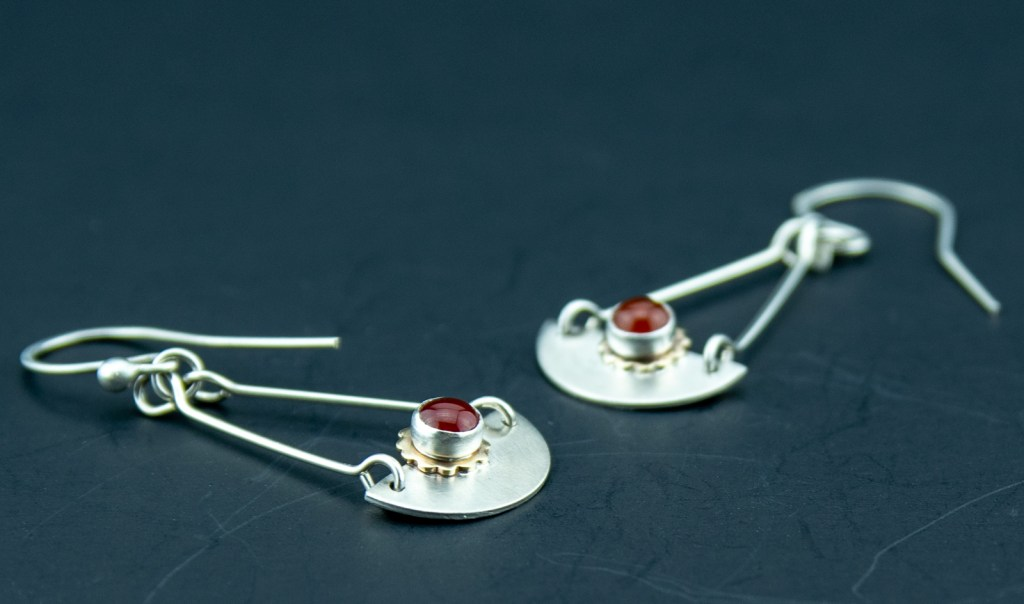 sterling silver, brass and carnelian earring dangles