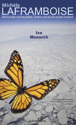 A Monarch butterfly over the Arctic Ice