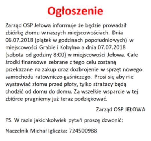 Zbiórka złomu dla OSP Jełowa 5