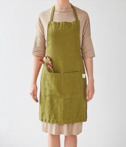 Tablier en lin lavé vert coriandre