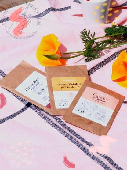 coffret cadeau fête des mères écolo, box jardinage bio fête des mères : graines bios et reproductibles de fleurs comestibles - sachet de graines bios et reproductibles